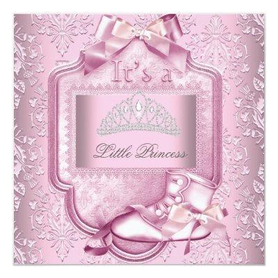 Elegant Princess Baby Shower Girl Pink Damask Shoe Invitations