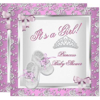 Elegant Princess Baby Shower Girl Pink Rose Invitations