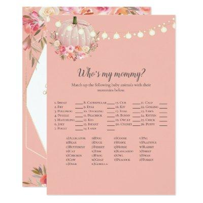 Elegant Pumpkin Who's My Mommy Baby Shower Game Invitation