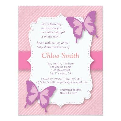 Elegant Purple butterfly baby shower Invitation