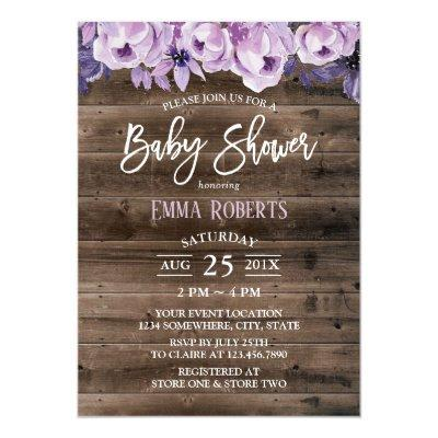 Elegant Purple Floral Rustic Barn Baby Shower Invitation