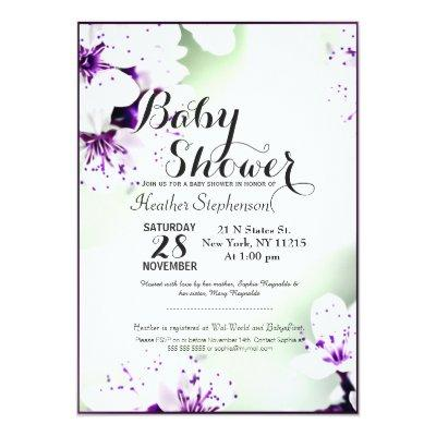 Elegant Purple & White Lilies on Soft Green Invitations