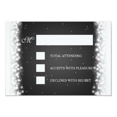 Elegant RSVP Magic Sparkle Black Invitations