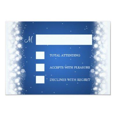 Elegant RSVP Wedding Magic Sparkle Blue Invitations