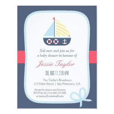 Elegant Sail boat Nautical Baby Shower Invitations