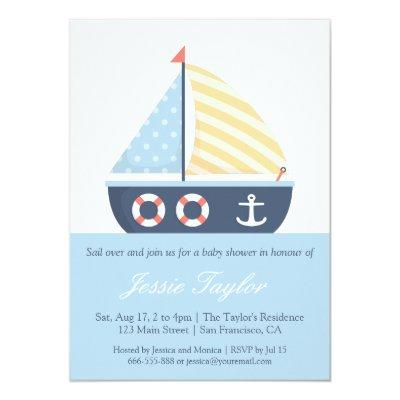 Elegant Sailboat Nautical Baby Shower Invitations