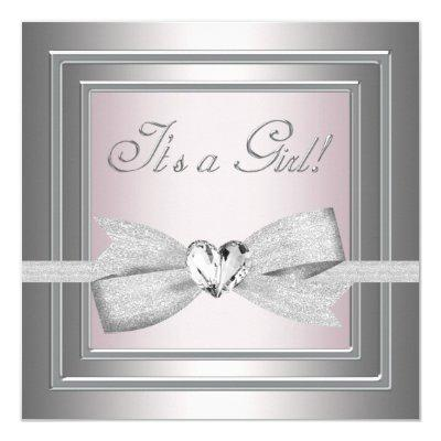 Elegant Silver and Pink Baby Girl Shower Invitations