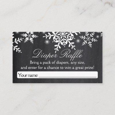 Elegant Snowflakes Baby Shower Diaper Raffle Ticke Enclosure Card