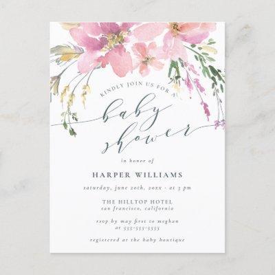 Elegant Spring Watercolor Floral Baby Shower Invitation Postcard