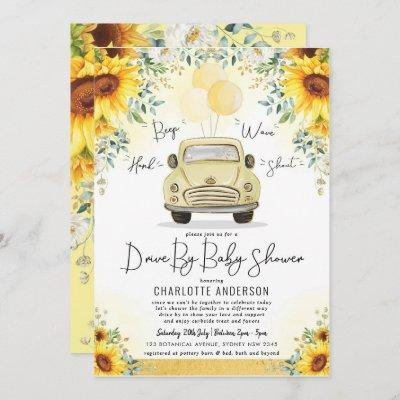 Elegant Sunflower Greenery Drive By Baby Shower Invitation