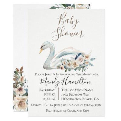 Elegant Swan Floral Baby Shower Invitations
