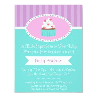 Elegant Sweet Cupcake Baby Shower Invitations
