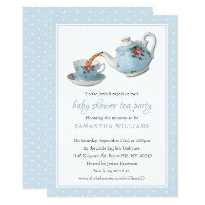 Elegant Teacups Baby Shower Tea Party Invitation