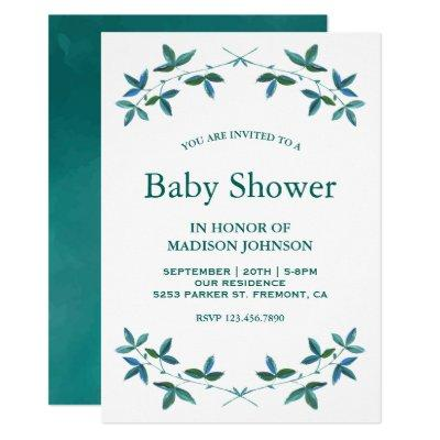 Elegant Teal Watercolor Leaves Baby Shower Invitation
