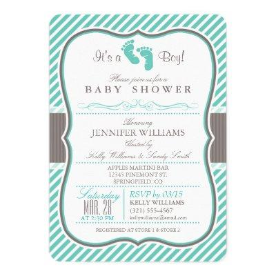 Elegant Turquoise and Taupe Baby Feet Baby Shower Invitation