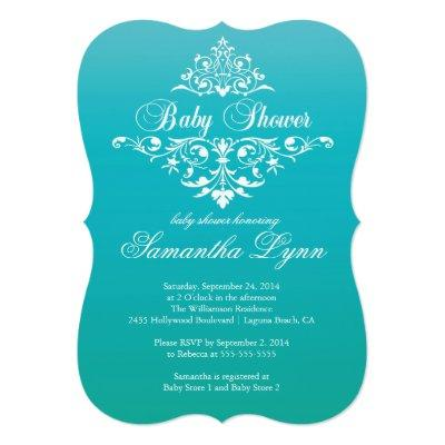 Elegant Turquoise Ombre Baby Shower Invitations