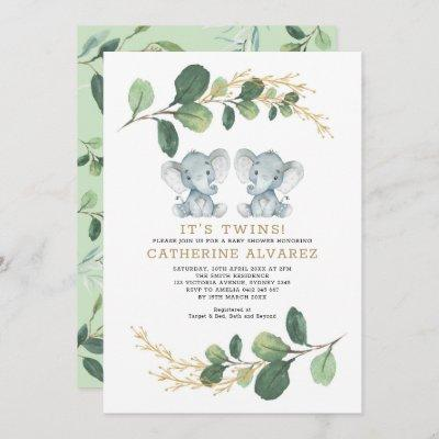 Elegant Twin Elephant Soft Greenery Baby Shower Invitation