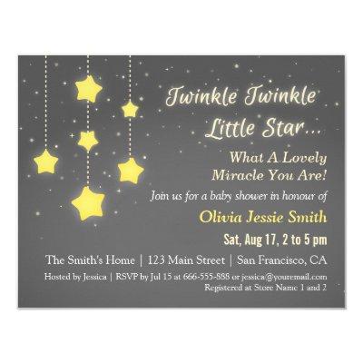 Elegant Twinkle Twinkle Little Star Baby Shower Invitations