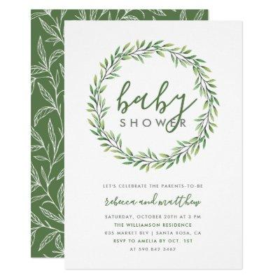 Elegant Typography & Greenery Couple's Baby Shower Invitations