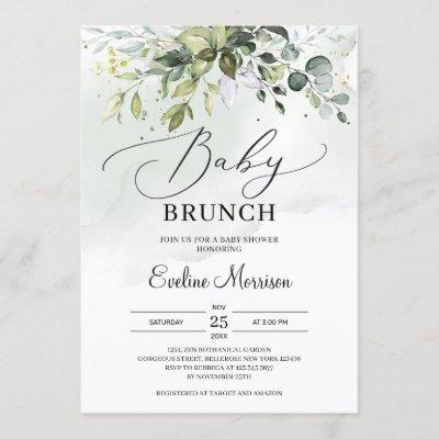 Elegant typography greenery foliage baby brunch invitation