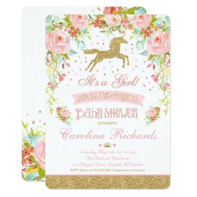 Elegant Unicorn Baby Shower Invitations