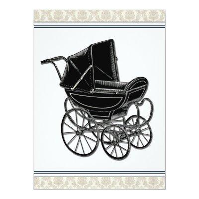 Elegant Vintage Pram Beige Damask Baby Shower Invitation