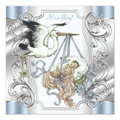 Elegant Vintage Silver and Blue Stork Baby Boy Invitation