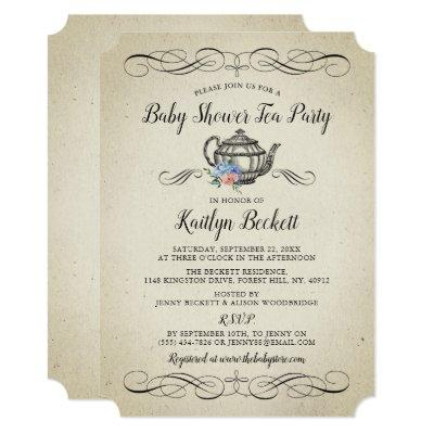 Elegant Vintage Tea Party | Baby Shower Invitation