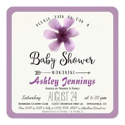 Elegant Violet Purple Floral Baby Shower Invitations