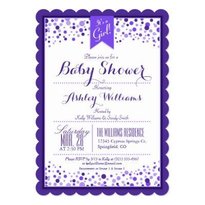 Elegant Violet Purple & White Confetti Invitations