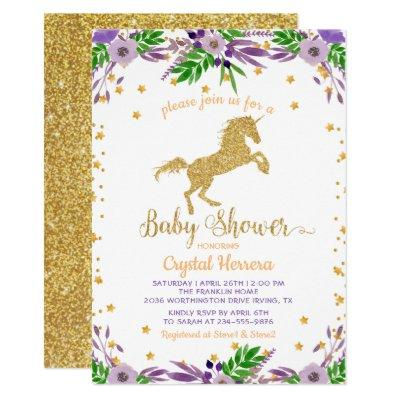 Elegant Watercolor Floral Gold Unicorn Baby Shower Invitations