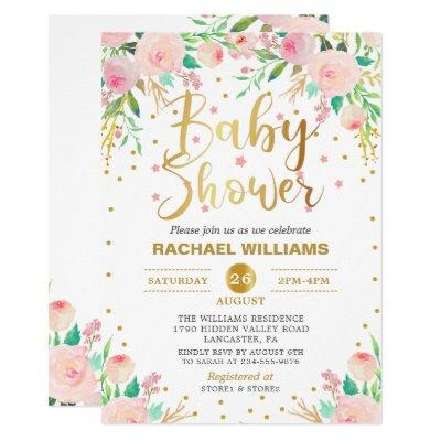 Elegant Watercolor Floral Pink & Gold Baby Shower Invitations