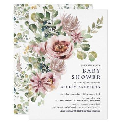 Elegant Watercolor Peonies Floral Baby Shower Invitation