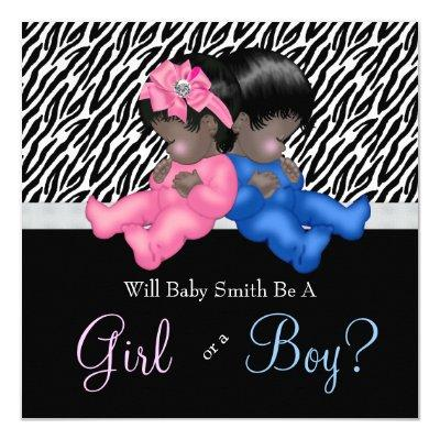 Elegant Zebra Baby Gender Reveal Shower Invitations