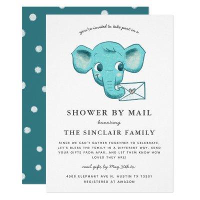 Elephant Baby Boy Shower By Mail Invitation