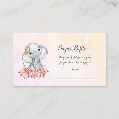 Elephant Baby Diaper Raffle Enclosure Card