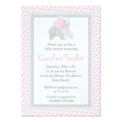 Mod elephant baby shower baby shower invitations baby shower elephant baby girl shower invitations pink chevron filmwisefo