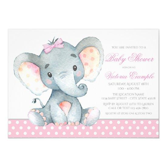Elephant baby girl shower invitations baby shower invitations elephant baby girl shower invitations filmwisefo