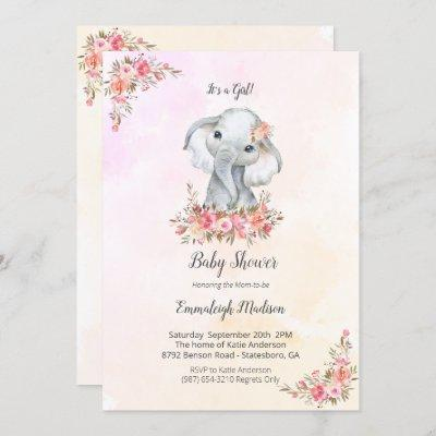 Elephant Baby Shower Boho Chic Coral Watercolor Invitation