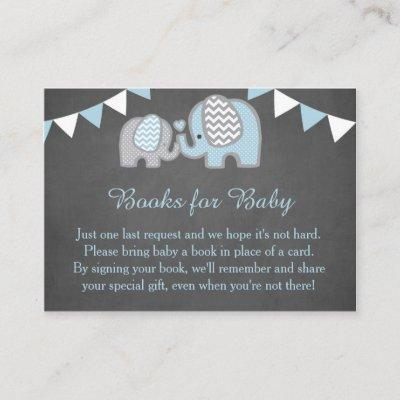 Elephant Baby Shower Book Request Card Boy