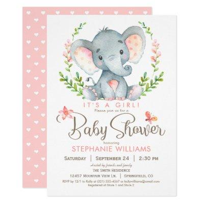 Elephant Baby Shower, Girl Invitations