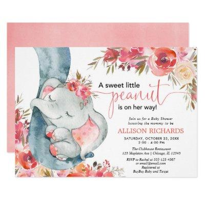 Elephant baby shower girl coral floral watercolos invitation