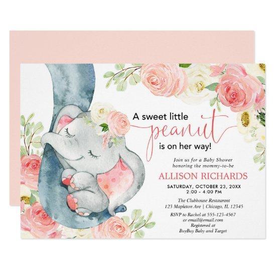 Elephant baby shower girl floral pink cream invitation