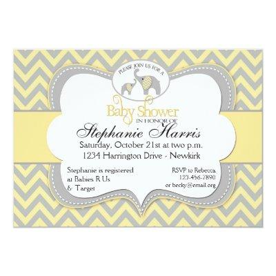 Elephant in Chevron Yellow and Gray Invitations