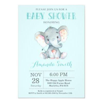 Elephant Baby Shower Invitations Aqua and Gray