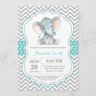 Elephant Baby Shower Invitation Aqua and Gray