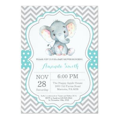 Elephant Baby Shower Invitation Aqua and Gray