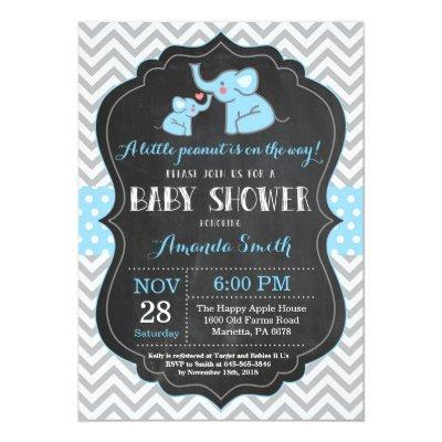 Elephant Baby Shower Invitation Blue and Gray