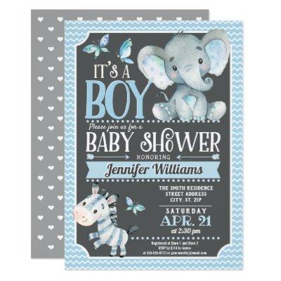 Elephant Baby Shower Invitations, Blue and Gray Invitations