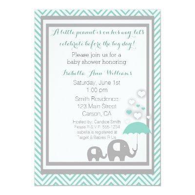 Elephant Baby Shower Invitation- Blue and Gray Invitation